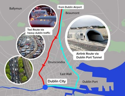 From Dublin Airport to Dublin City Taxi Route Versus Airlink Route via Dublin Port Tunnel